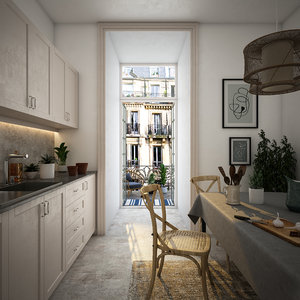 modern evening kitchen 3D model