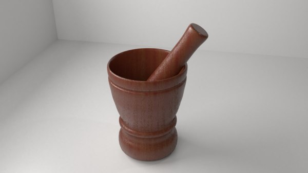 wood mortar pestle 10 3D model