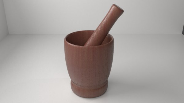wood mortar pestle 11 3D model