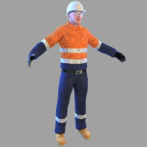 safety worker man 3D