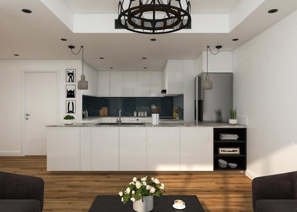 3D model modern white kitchen scene