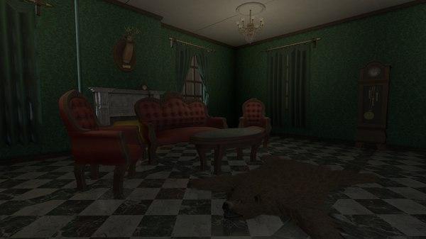 3D victorian living room pack model