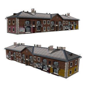 3D residential shop building