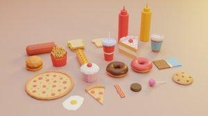 games food burger cake 3D