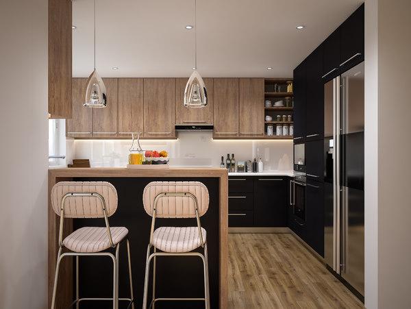 3D modern kitchen scene lighting