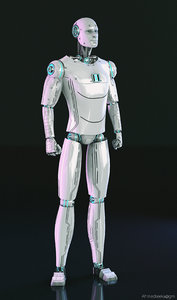 3D cyborg sci-fi robot model