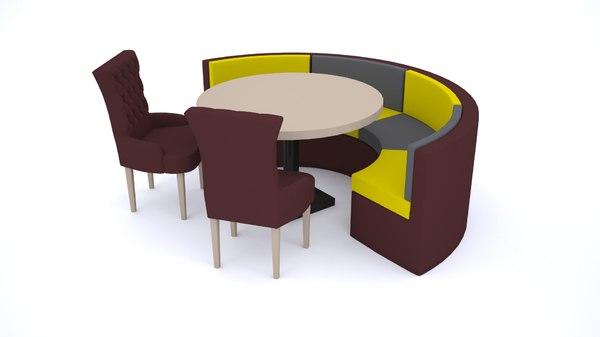 3D model armchair chair set