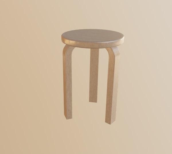 3D yellow stool