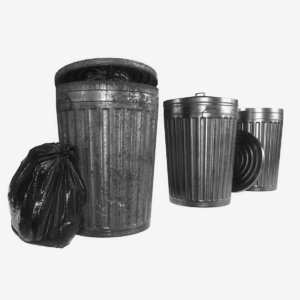 metal trash garbage bags 3D