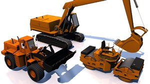 3D construction machinery vehicles