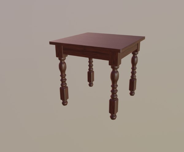 3D red table model