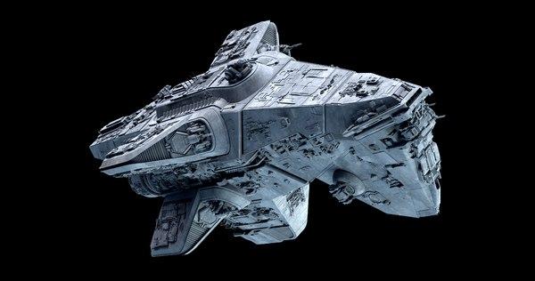 3D mandalorian cruiser space ship
