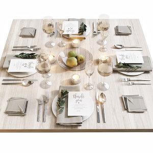 3D model table setting 16