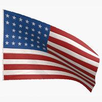 3D american 33 stars flag model
