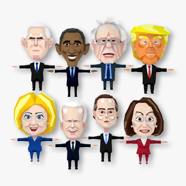 3D american political t-pose character