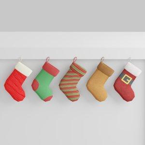 3D model socks christmas