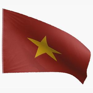 3D flag vietnam north model