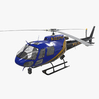 helicopter as-350 miami city 3D model
