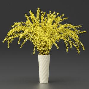 forsythia bouquet 3D
