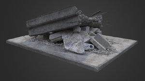 destroyed bridge element 3D model