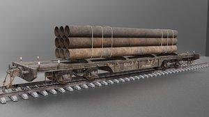 3D railway freight flatcar