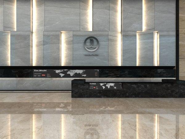 3D model company lobby elevator hallway