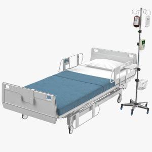 3D hospital bed iv stand model