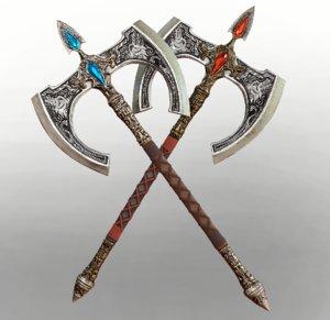 engraved battle axe 3D