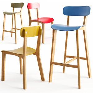3D cream stool model