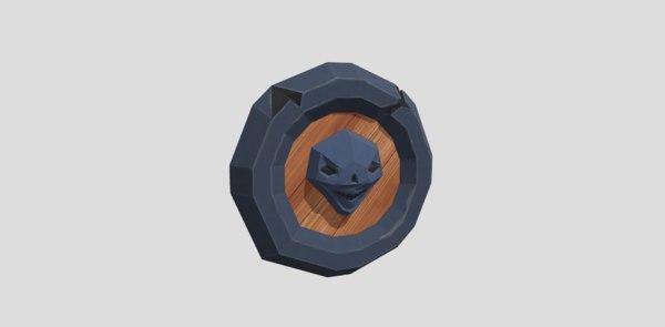 shield cartoon skull 3D model