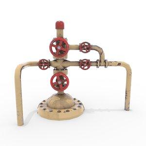oil pumpjack wellhead 3D model