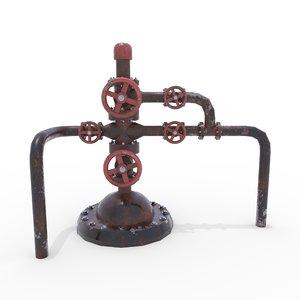 3D oil pumpjack wellhead 2 model