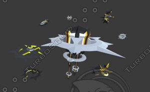 3D space mothership battleships