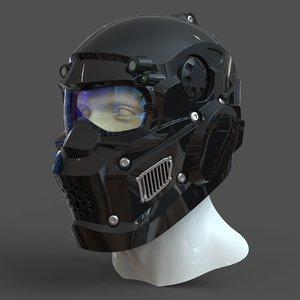 3D helmet h1v1 male head model