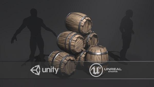 3D pbr wooden barrels