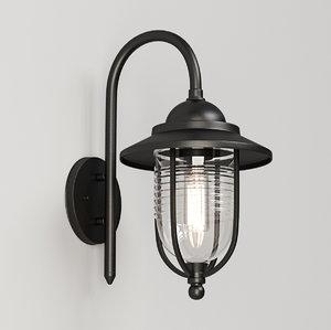 aluminium black wall light 3D model