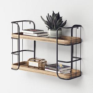 3D industrial shelf unit rustic metal