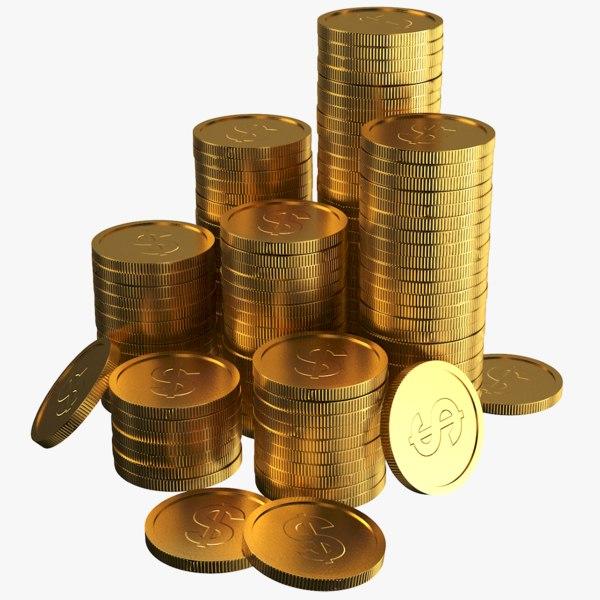 3D model gold coins