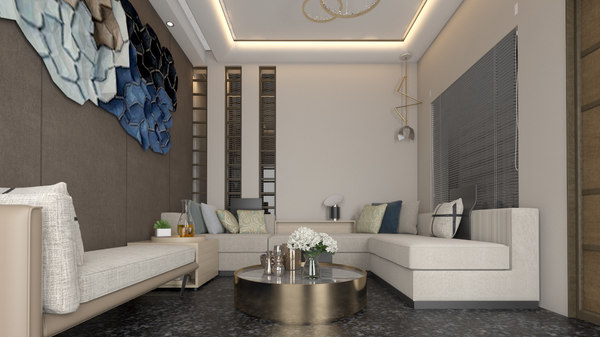 contemporary room living 3D model