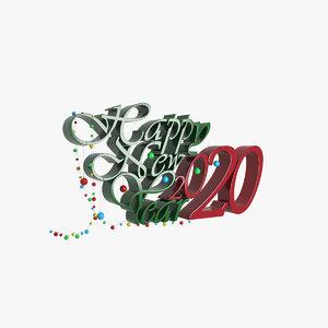 happy new 2020 3D model