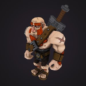 rigged barbarian 3D model