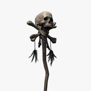 3D skull staff pbr