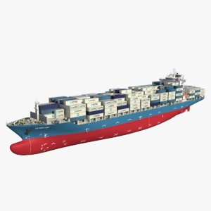 container ship redshift 3D model
