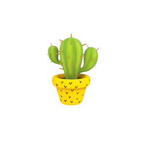 3D cartoon cactus model