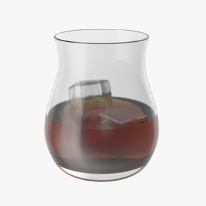 3D realistic canadian whisky glass model