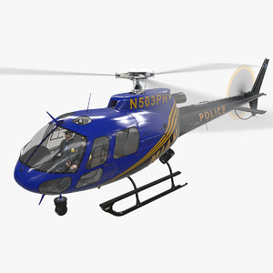 helicopter as-350 miami city 3D