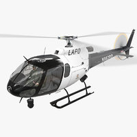 helicopter as-350 animation lapd 3D model