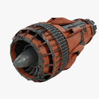 Scifi Plane Turbine Jet Engine