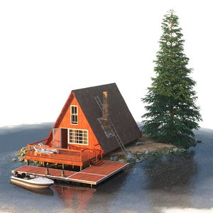 triangular cottage 3D model