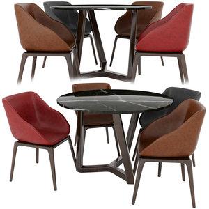 3D model poliform table chair